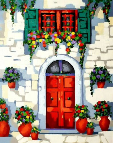 Tuscany Door,  36x48 100% Hand painted, Oil & Acrylic mixed on Giclee Canvas