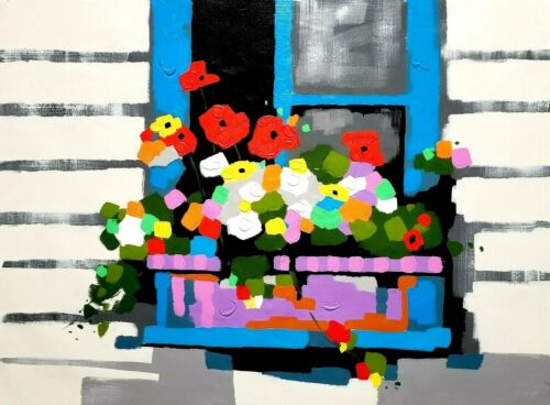 Flower Window,  36x48 100% Hand painted, Oil & Acrylic mixed on Giclee Canvas