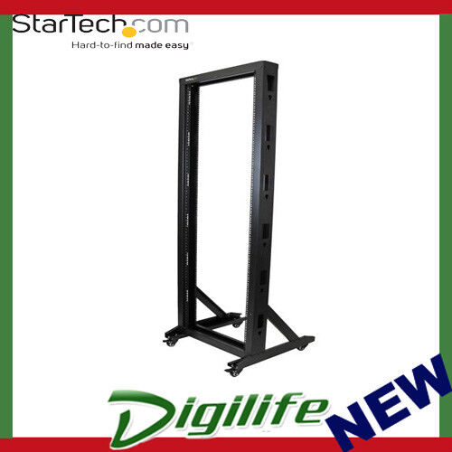 StarTech 2-Post Server Rack with Sturdy Steel Construction and Casters - 42U