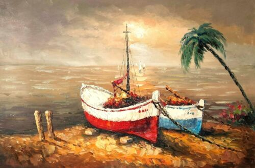 Boats on Mediterranean Beach #2, 24x36100% Hand Painted Oil Painting on Canvas,