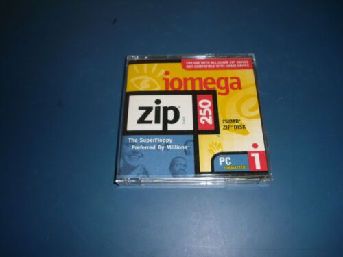 Brand New 2 Pack PC Formatted 250MB Iomega Zip Disk With Case - Aged Stock