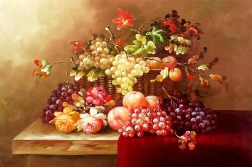 Still Life Floral and Fruit , #7, 24x36 100% Hand painted Oil Painting on Canvas