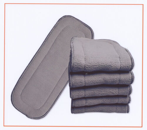 100x Nappy Inserts For MCN 5 Layers Bamboo Washable Reusable Charcoal 11*28cm