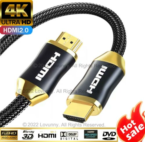4K Ultra HD Premium HDMI Cable V2.0 3D High Speed Braided 2m 3m 5m 10m 15m