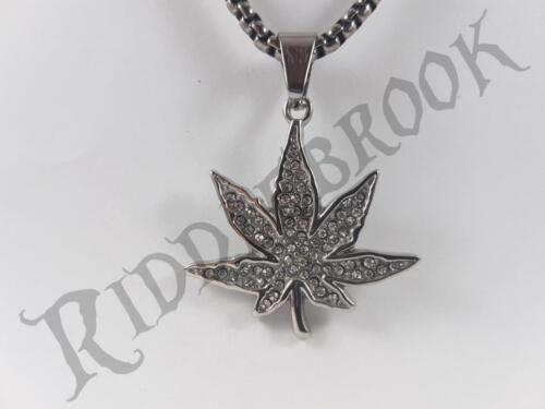 Stainless Steel Marijuana leaf pendant and necklace 60cm chain bling cz jewel