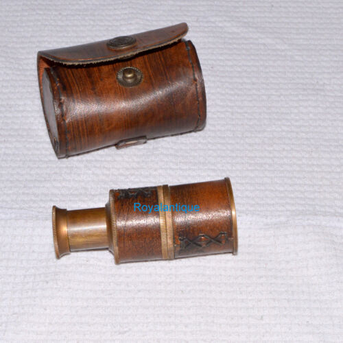 VINTAGE LEATHER TELESCOPE MARINE ANTIQUE BRASS PIRATE SPYGLASS NAUTICAL SCOPE