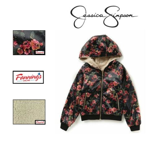 NEW! Jessica Simpson Floral Girls Cozy Faux Fur Reversible Bomber Jacket B25