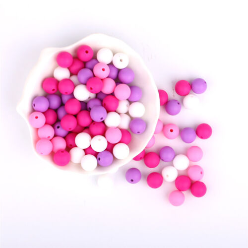 50Pcs Round Silicone Beads DIY Teething Baby Chewable Jewelry Teether Making
