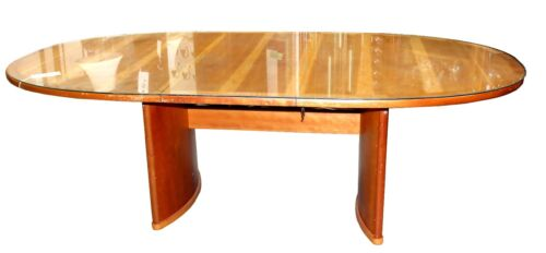 Modern Danish Ansager Mobler Oval Teak Table with Glass Top & Extension Leaf