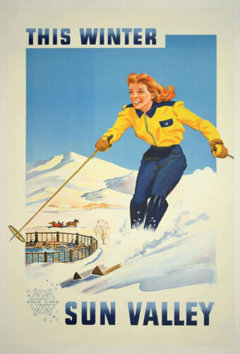 This Winter Sun Valley  Ski Poster 1950 - Print on Paper & Canvas Giclee Poster