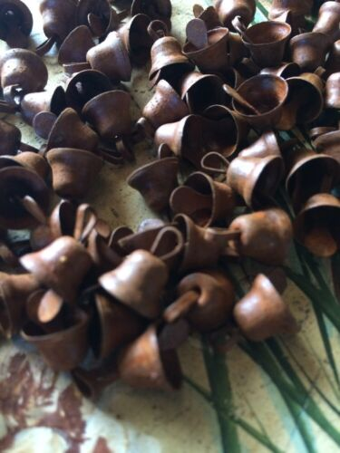 """(108) Primitive Rusty LIBERTY Bells 10mm 3/8 in 3/8"""" SMALL Christmas Crafts"""