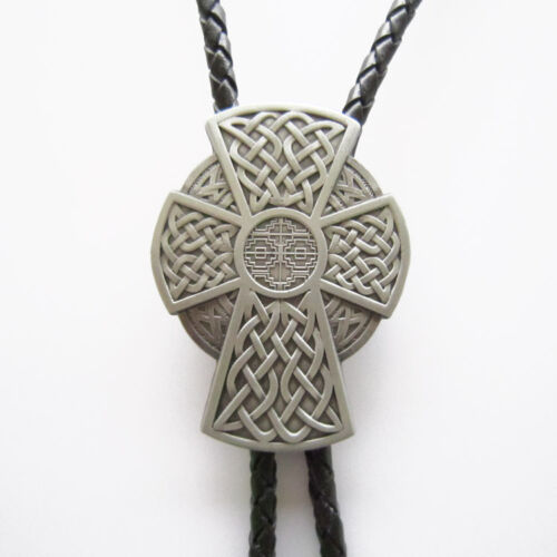 Vintage Celtic Iron Cross Bolo Tie Wedding Leather Necklace also Stock in US