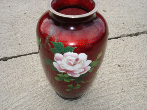 Vintage c1920 Japanese Red Cloisonne Elegant Richly Decorated ginbari Silver top