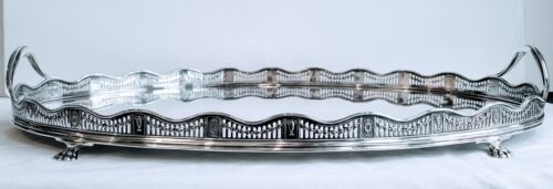 Exceptional Impressive Antique George V English Sterling Silver Gallery Tea Tray