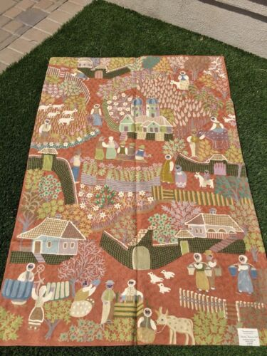Village Scene Tapestry 4' x 6' Rust Background Handmade Embroidered Wool