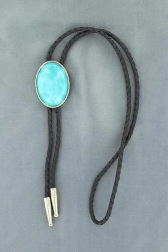 M&F Western Mens Bolo Neck Tie Oval Stone Turquoise Silver 22838