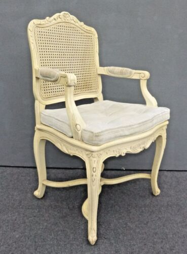 Vintage French Country Cottage CANE ARM Chair Off White w Cushion