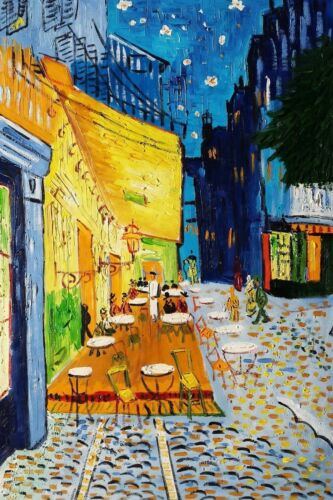 """""""Cafe""""  24x36 100%Hand Painted Oil Painting on Canvas,Reproduction of Van Gogh"""