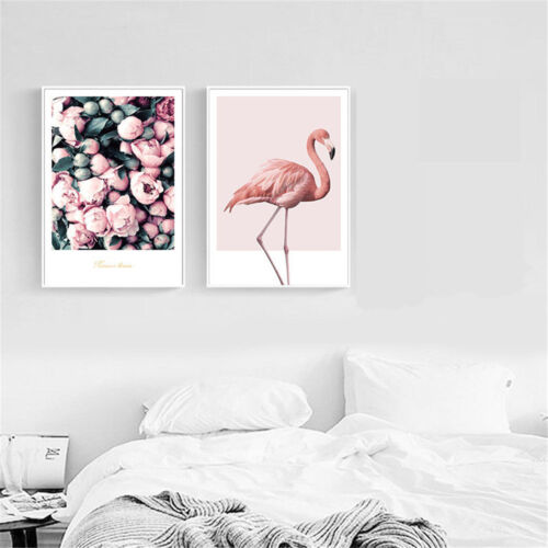 Flamingo Flower Canvas Poster Wall Art Print Nordic Style Home Decor 30x42cm