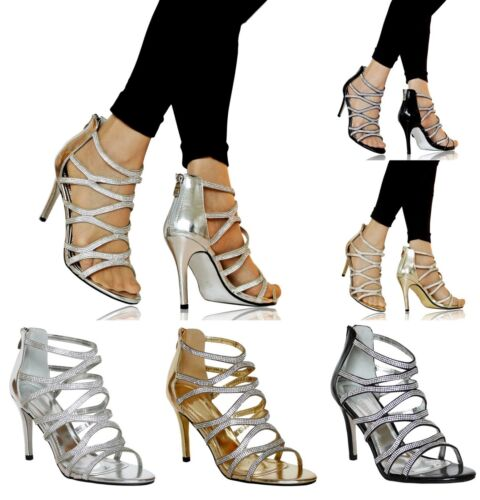 Ladies Womens Party Evening Bridal Diamante High Heel Shoes Sandals Size-0616
