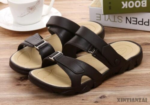 1a1fa845c98b9 Mens Summer Leather Slippers Slip On Flip Flops Leisure Sandals Shoes Mules