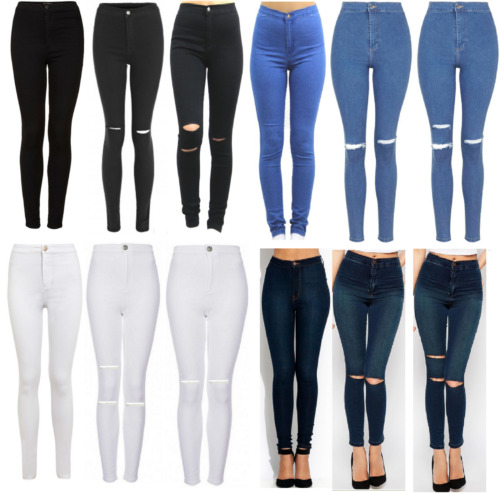 WOMENS HIGH WAISTED SKINNY JEANS RIPPED LADIES JEGGINGS KNEE 6 8 10 12 14 16 18 <br/> 4 LENGTH SHORT/REGULAR/LONG/EXTRA LONG STRETCHY JEANS
