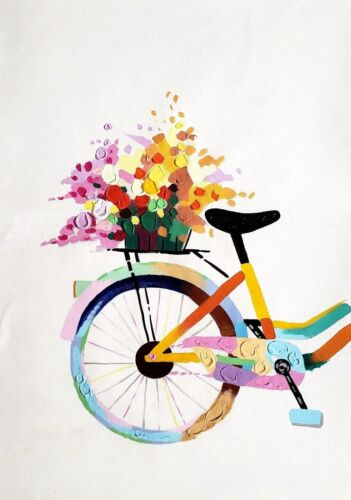 Bicycle -Back with Flower Basket   24x36 Hand painted on Giclee Canvas