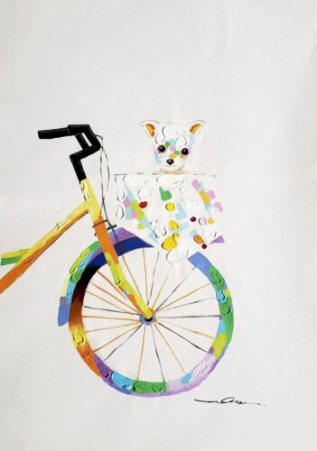 Bicycle - Front with Teddy Bear 24x36 Hand painted on Giclee Canvas