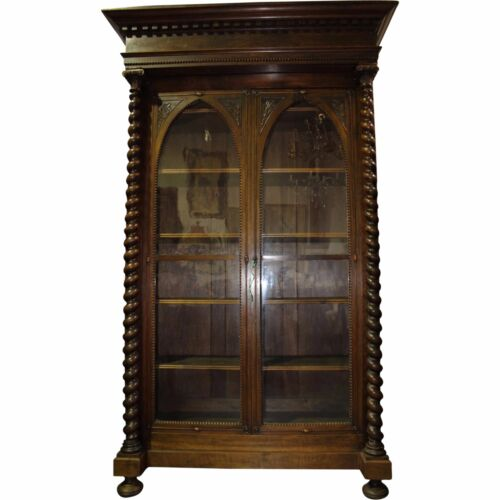 19th c. French Gothic Revival Walnut Bookcase w Glass Doors & Adjustable Shelves