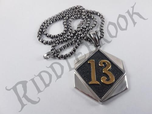Stainless Steel Lucky 13 Pendant and necklace biker charm UL chain biker 1%er
