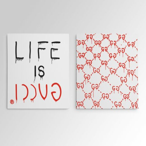 """""""Life Is Gucci"""" Gucci Ghost Gallery Art Canvas Pop Culture Hypebeast 2 Piece Set"""