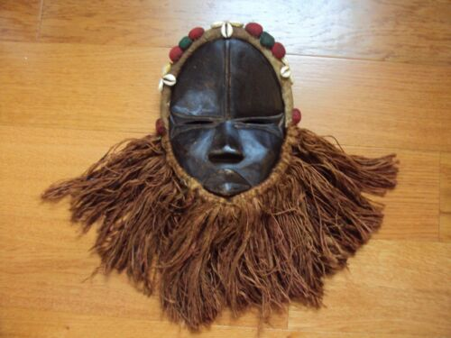 DAN Headdress Mask African Carving Cowrie Raffia Packets BEAUTIFUL DESIGN!!
