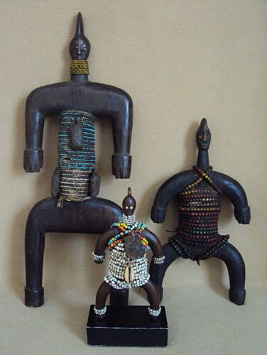 "3 FINE NAMCHI NAMJI FERTILITY DOLLS African Statue Carving VERY LARGE 16""!!"