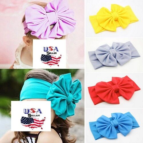 Lot of 10 Toddler Girls Big Wide Bow Cotton Headband Turban Headwrap Messy Bow