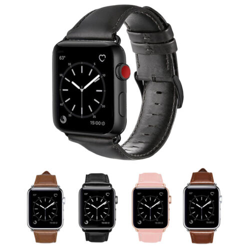 Apple Watch Band Mumba Genuine Leather Strap Replacement Band with Metal Clasps