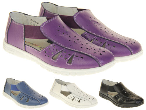 Womens Wide Fit EEE Coolers Leather Shoes Ladies Summer Sandals Size 4 5 6 7 8