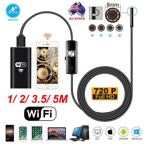 WIFI Endoscope 2MP 8mm  Borescope Inspection Camera iPhone Android PC 1/2/3.5/5M