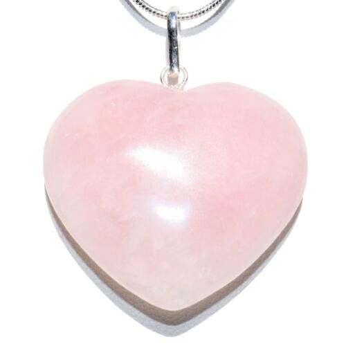 """CHARGED Himalayan Rose Quartz Crystal HEART Pendant + 20"""" Silver Chain"""