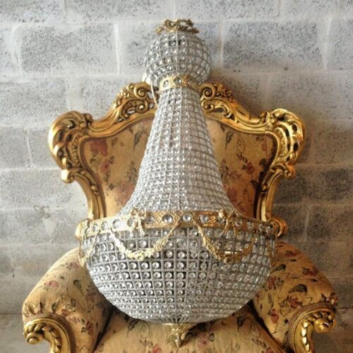 Antique French Louis XVI chandelier with light inside