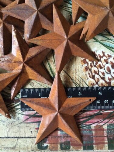 """50 Rusty Barn Stars 3.75 in 3 3/4"""" Dimensional 2D w/ hole Craft Supply Country"""