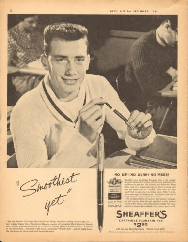 1960 Sheaffer's Cartridge Fountain Pen LARGE Print Ad
