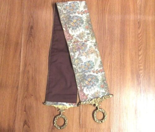 Vintage Corona Decor Servants Bell Pull Tapestry Wall Hanging Brass Ends Floral