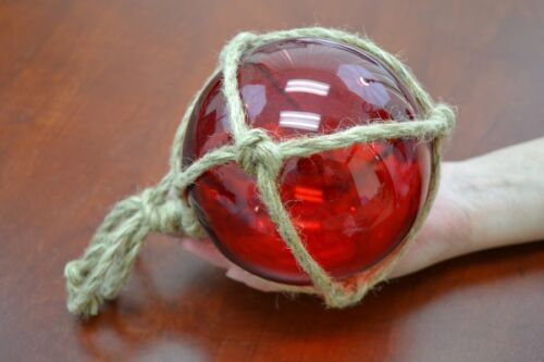 """REPRODUCTION RED GLASS FLOAT BALL WITH FISHING NET 5"""" #F-947"""