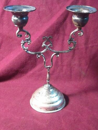 "Vintage  Unknown 800 SILVER CANDELABRA Candle 5 3/4"" x 4 1/4"" 68g"