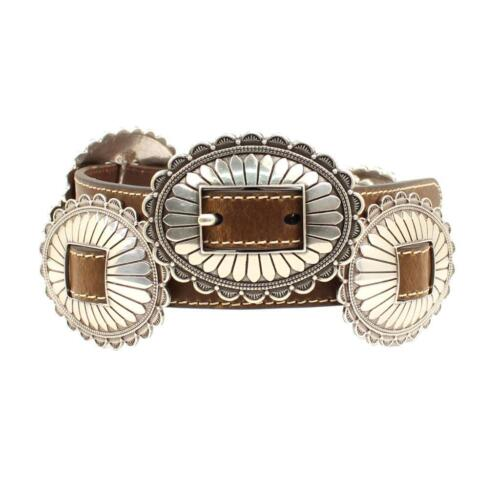Nocona Western Womens Belt Large Oval Silver Conchos Brown N320000002