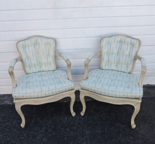 Pair of French Distressed Painted Caning Living Room Side by Side Chairs 8373