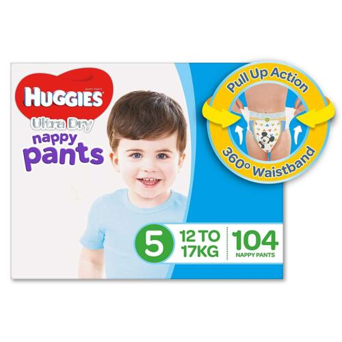 104 Huggies Ultra Dry Nappy Pants, Boys, Size 5 Walker (12-17kg) Toddler Baby AU