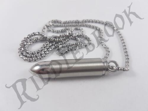 Stainless Steel Stash bullet pendant and chain pill box ammo necklace security
