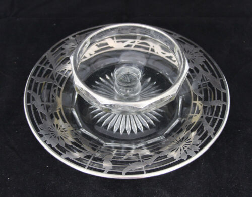 Art Nouveau Silver City Co Sterling Silver Overlay Floral Chip & Dip Tray