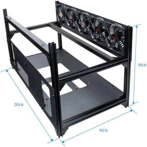 Rosewill 8 GPU Mining Case Open Air Stackable Frame, Dual PSU Support